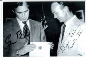 Autographed photo of George H.W. Bush presenting an Apollo 13 Bible to Pilot Michael Collins